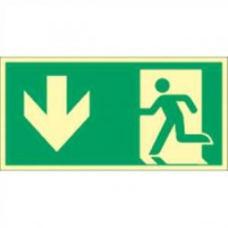 Notausgang (links) mit Richtungspfeil unten