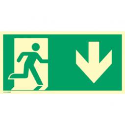 Notausgang (rechts) mit Richtungspfeil unten-Copy