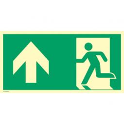 Notausgang (links) mit Richtungspfeil oben