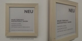 Edles Türschild aus Ahorn, 174 x 174 mm