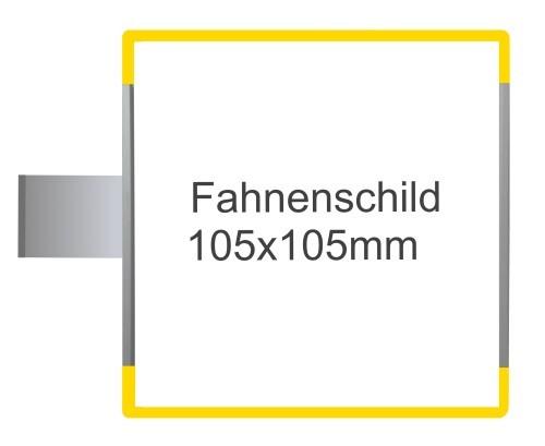 Fahnenschild Signcode gelb, Direktbeschriftung