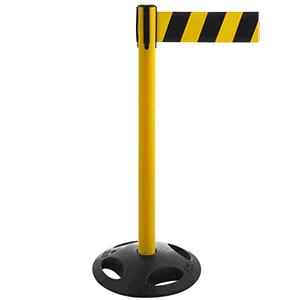 Gurt-Absperrpfosten GLA26 mit Recyclingfußplatte - gelb