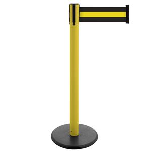 Gurt-Absperrpfosten GLA29 - gelb, Fuss Gusseisen