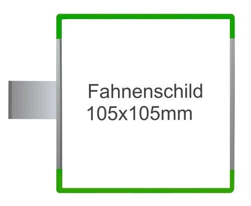 Fahnenschild Signcode grün, Direktbeschriftung
