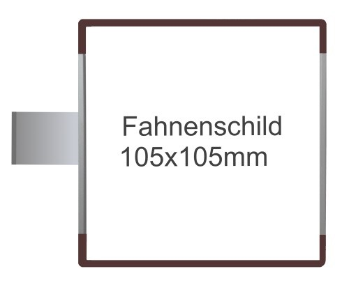 Fahnenschild Signcode braun, Direktbeschriftung
