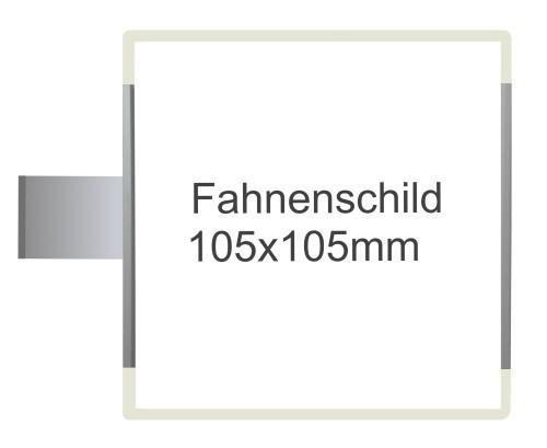 Fahnenschild Signcode weiss, Direktbeschriftung