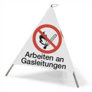 Faltsignal mit Symbol Arbeiten an Gasleitungen