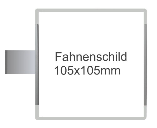 Fahnenschild Signcode grau, Direktbeschriftung