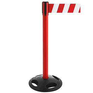 Gurt-Absperrpfosten GLA26 mit Recyclingfußplatte - rot