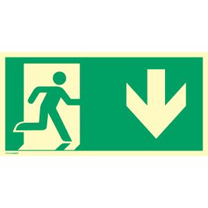 Notausgang (rechts) mit Richtungspfeil unten