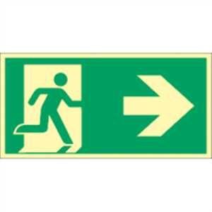 Notausgang (rechts) mit Richtungspfeil rechts
