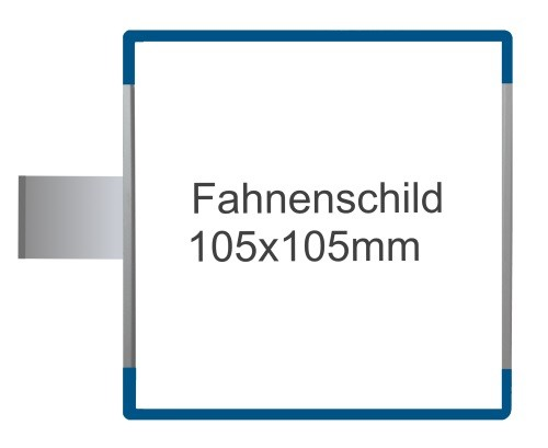 Fahnenschild Signcode blau, Direktbeschriftung