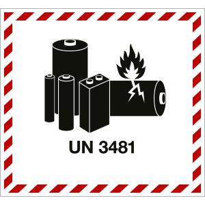 Gefahrzettel für LITHIUM ION BATTERY UN 3481