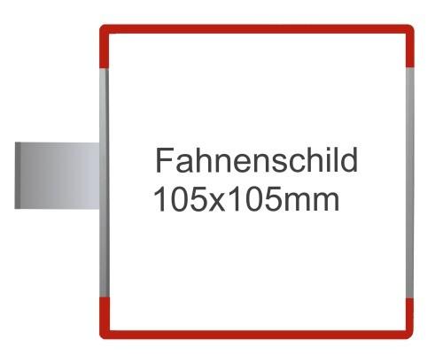 Fahnenschild Signcode rot, Direktbeschriftung