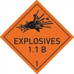 Explosive Stoffe u. Gegenstände mit Explosivstoff mit Text - EXPLOSIVES